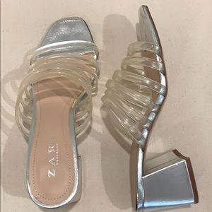 Zara Silver Chunky Heel Dress Sandals